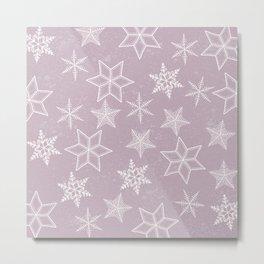 Snowflakes on pink background Metal Print