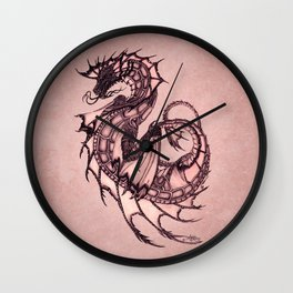 """Tsunami"" by Amber Marine ~ Sea Dragon (Coral Version) ~ Graphite Illustration, (Copyright 2005) Wall Clock"