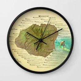 Kauai Surf Break Map Wall Clock