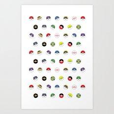 Cute Pokeball Pattern Art Print