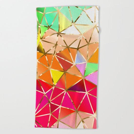 Rainbow Geometric Pattern #7 Beach Towel