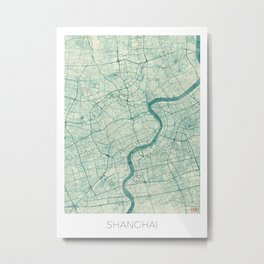 Shanghai Map Blue Vintage Metal Print