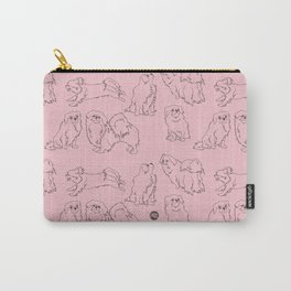 English Rose Pink & Dark Taupe Minimalist Outline Tibetan Spaniel Pattern Carry-All Pouch