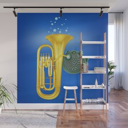 Puffer Fish Playing Tuba Wall Mural