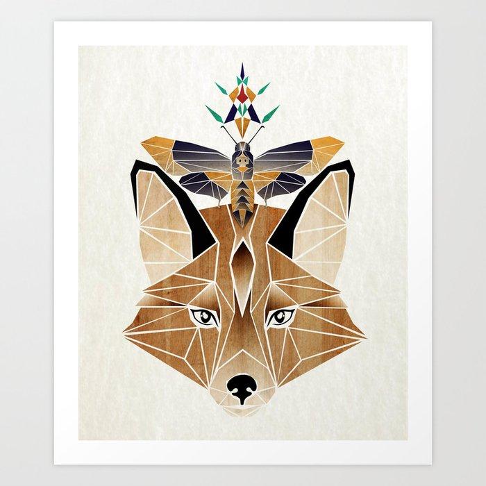 fox butterfly Art Print
