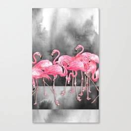 Flamingo Collage in Watercolor and Ink Canvas Print
