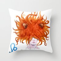 leo Throw Pillows featuring Leo by Aloke Design