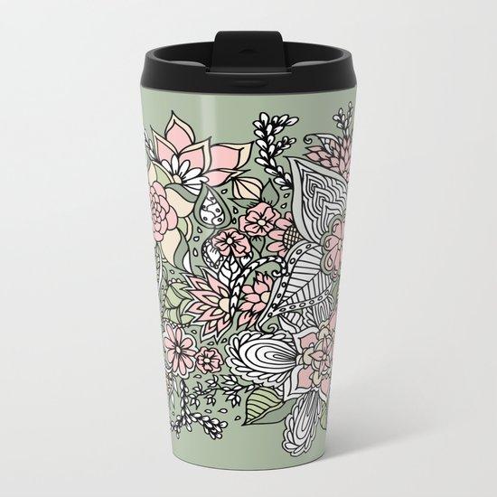 Modern green pink floral handdrawn pattern Metal Travel Mug