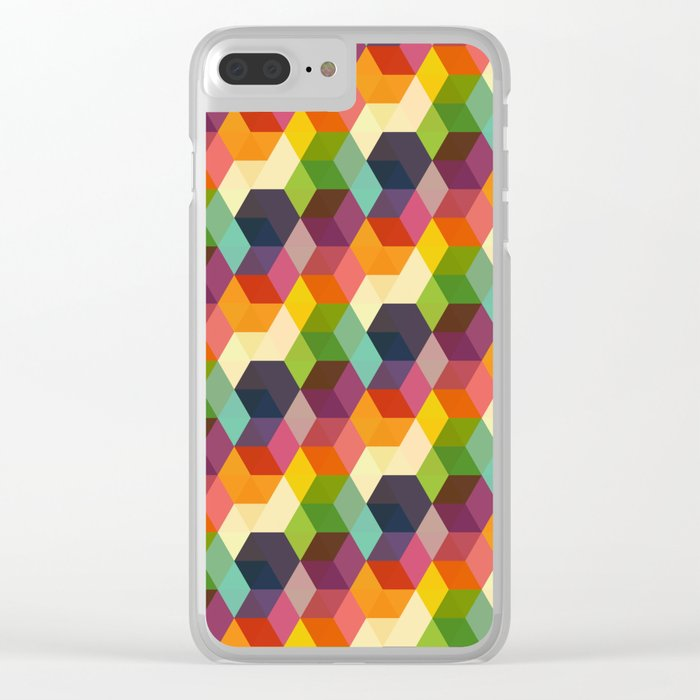 Retro Hexagonzo Clear iPhone Case