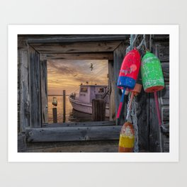 Fishing Boat and Gulls with Fishing Buoys at Sunrise Art Print