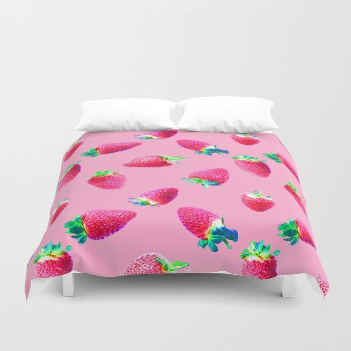 Pink Strawberry Pop Duvet Cover