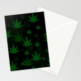 Patron with cannabis present shapes on a black background. Stationery Cards