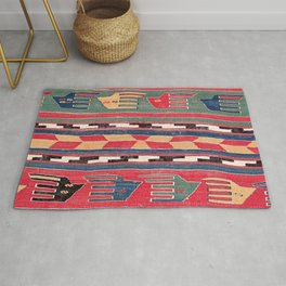 Southwestern Nomad II // 18th Century Colorful Red Blue Green Yellow Shapes and Bands Pattern Rug