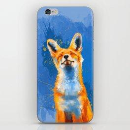 Happy Fox, inspirational animal art iPhone Skin