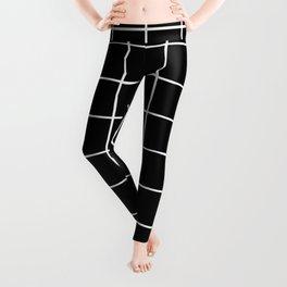 simple black and white grid Leggings