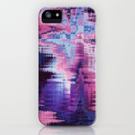 Violet Abstract Glitch effect iPhone Case