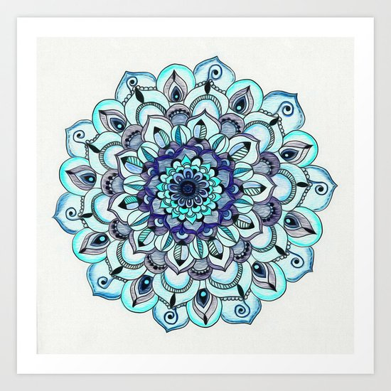 Tide Meets Shore - Blue Mandala Art Print
