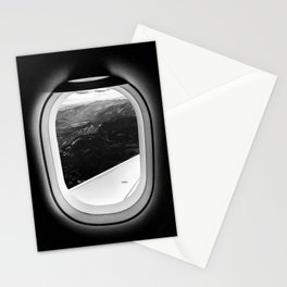 Window Seat // Scenic Mountain View from Airplane Wing // Snowcapped Landscape Photography Stationery Cards