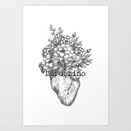 Murderino Heart and Flowers Gray | MFM Art Print