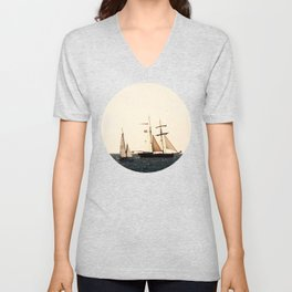 Sailboats in a windy day Unisex V-Neck