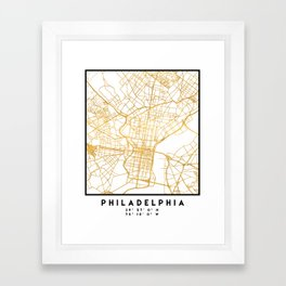 PHILADELPHIA PENNSYLVANIA CITY STREET MAP ART Framed Art Print