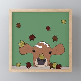 Bessie the Calf and Fall Leaves Framed Mini Art Print
