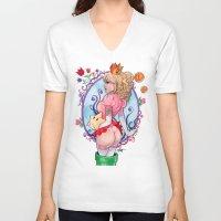 princess peach V-neck T-shirts featuring Princess Peach Super Mario by carlations: Carla Wyzgala illustrations