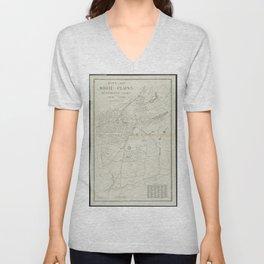 Vintage Map of White Plains NY (1921) Unisex V-Neck