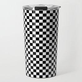 Black and White Checkerboard Pattern Travel Mug