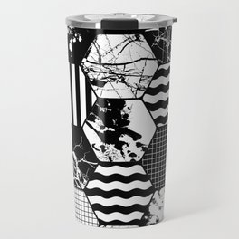 Hexual - Black and white, honeycomb, hexagon pattern, stripes, paint splats, grid and marble Travel Mug