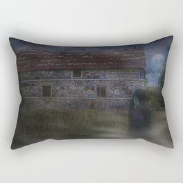 Abandoned Old House and Girl in the Mist, urbex Rectangular Pillow