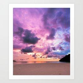 Colorful Majestic Sunset At Beach Borneo Art Print