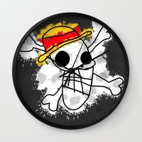 luffy Wall Clocks featuring Luffy Laboon by rKrovs