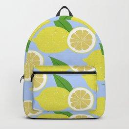 Lemon fruits on blue Backpack