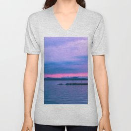 Sunset on the lake Unisex V-Neck