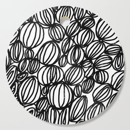 Loop black and white minimalist abstract painting mark making art print Cutting Board