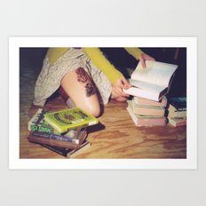 Bookish: Film Photograph Woman Sitting on Floor with a Pile of Books Feminine Bibliophile Wall Art Art Print