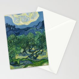 Olive Trees with the Alpilles in the Background by Vincent van Gogh (June 1889) Stationery Cards