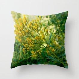 Yellow Wildfire Flower Throw Pillow