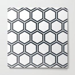 Hexagon White Metal Print