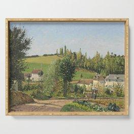 """Camille Pissarro """"Hameau aux environs de Pontoise"""" (1872) Serving Tray"""