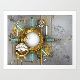 Steampunk Round Banner with Pressure Gauge Art Print