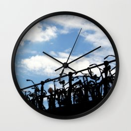 Bicycles Against the Sky Wall Clock