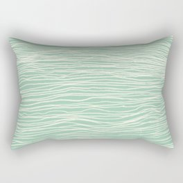 Jade Glow - abstract lines in cream & mint Rectangular Pillow