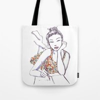 writing Tote Bags featuring Woman Writing by Stevyn Llewellyn