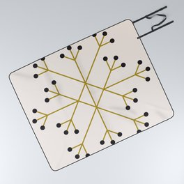 Mod Snowflake Olive Picnic Blanket