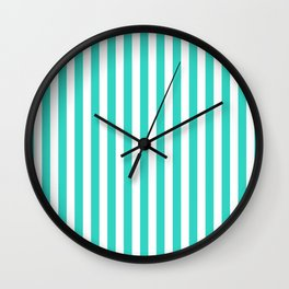 STRIPED DESIGN (TURQUOISE-WHITE) Wall Clock