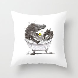 Bubble Bath (Pen & Ink) Throw Pillow
