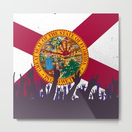 Florida State Flag with Audience Metal Print