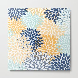 Flower Print, Navy Blue, Aqua, Yellow, Floral Prints Metal Print
